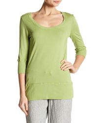 Allen Allen - Green 3/4 Length Sleeve Scoop Neck Tee - Lyst