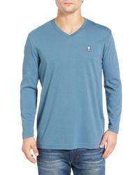 Psycho Bunny - Blue Long Sleeve V-neck T-shirt for Men - Lyst