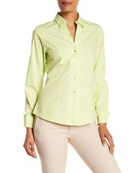 Foxcroft - Yellow Lauren Fitted Shirt - Lyst