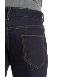 Topman - Blue Stretch Slim Fit Raw Denim Jeans for Men - Lyst