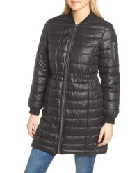 Kenneth Cole - Black Lightweight Quilted Puffer Coat - Lyst