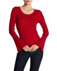 Catherine Malandrino Red Scoop Neck Bell Sleeve Knit Sweater