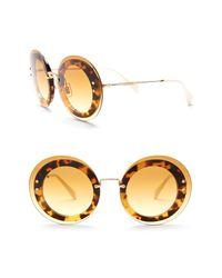 Miu Miu - Metallic Round 64mm Acetate Frame Sunglasses - Lyst