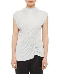 TOPSHOP | Gray Ruched Front Top | Lyst