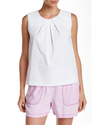Vince Camuto - White Pleat Neck Sleeveless Shell - Lyst