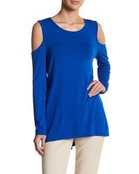 Vince Camuto | Blue Long Sleeve Cold Shoulder Pullover | Lyst