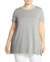 Vince Camuto - Gray Mixed Media Hi-lo Tee (plus Size) - Lyst
