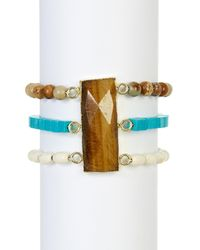Panacea - Blue Turquoise Tiger Eye Bracelet - Lyst