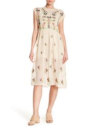 Haute Rogue - Natural Embroidered Clip Dot Midi Dress - Lyst