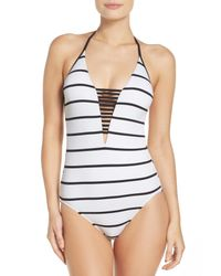 Seafolly - White Castaway Stripe One-piece Swimsuit - Lyst