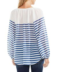 Vince Camuto - Blue Ladder Stripe Peasant Blouse (regular & Petite) - Lyst