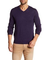 Calvin Klein - Purple V-neck Wool Sweater for Men - Lyst