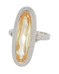 Judith Ripka - Metallic Sterling Silver Rio Elongated Oval Stone Ring - Size 7 - Lyst