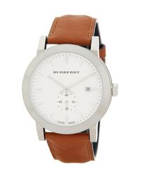 Burberry | Multicolor Men's Check Stamped Leather Strap Watch for Men | Lyst