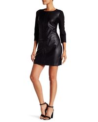 Laundry by Shelli Segal Black Studded 3/4 Length Sleeve Faux Leather & Ponte Dress