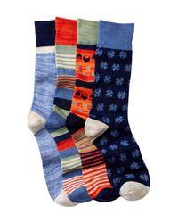 Lucky Brand - Blue Colorblock Socks - Pack Of 4 for Men - Lyst