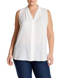 Vince Camuto | White Pleated V-neck Blouse (plus Size) | Lyst