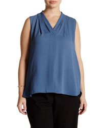 Vince Camuto | Blue Pleated V-neck Blouse (plus Size) | Lyst