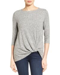 Gibson - Gray Twist Front Cozy Fleece Pullover - Lyst