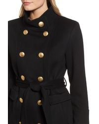 Sofia Cashmere - Black Wool & Cashmere Blend Military Coat - Lyst