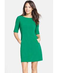 Tahari | Green Seamed A-Line Dress | Lyst