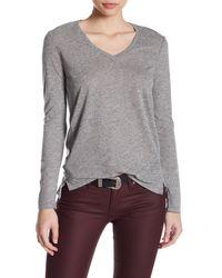 Stateside - Gray V-neck Long Sleeve Shirt - Lyst