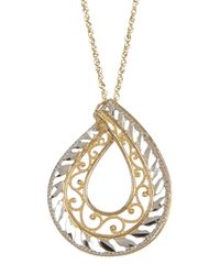 Liberty | Metallic 14k Gold Two-tone Tear Drop Pendant Chain Necklace | Lyst