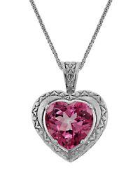 Liberty - Metallic Sterling Silver Pink Quartz Heart Pendant Necklace - Lyst