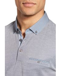 Ted Baker - Blue Woven Collar Polo for Men - Lyst