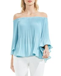 Vince Camuto - Blue Off The Shoulder Plisse Blouse - Lyst