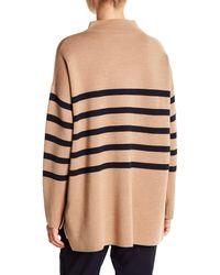 Basler - Natural Mock Neck Wool Pullover - Lyst