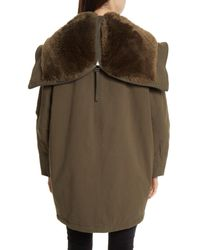 Vince - Green Faux Fur Trim Military Parka - Lyst