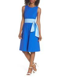J.Crew - Blue Sash Tie A-line Dress - Lyst