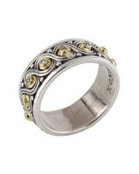 Konstantino - Metallic Sterling Silver & 18k Gold Pave Beaded Diamond Ring - Size 7 - Lyst