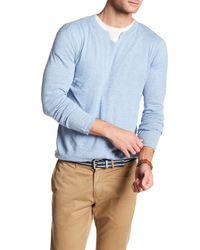 Autumn Cashmere - Blue Split Neck Long Sleeve Tee for Men - Lyst
