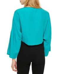 TOPSHOP - Blue Knot Front Top - Lyst