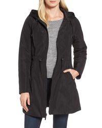 Laundry by Shelli Segal - Black Hooded Reversible Windbreaker Jacket (regular & Petite) - Lyst