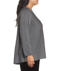 Eileen Fisher - Gray Shimmer Bateau Neck Sweater - Lyst