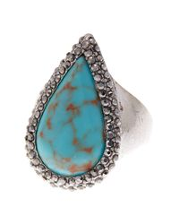 Lucky Brand - Multicolor Turquoise Teardrop Pave Ring - Size 7 - Lyst