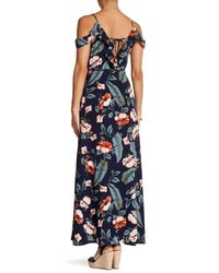 Haute Rogue - Blue Cold Shoulder Floral Maxi Dress - Lyst