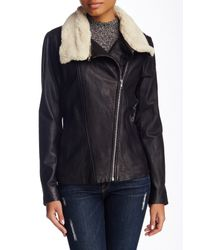 SOIA & KYO | Black Removable Faux Shearling Collar Leather Moto Jacket | Lyst