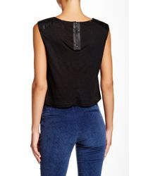 Alice + Olivia - Black Genuine Leather Shoulder Blouse - Lyst