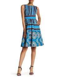 Plenty by Tracy Reese | Blue Printed Fit & Flare Dress | Lyst