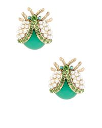 Betsey Johnson | Green Flower Child Pearl Bug Stud Earrings | Lyst