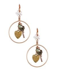 Betsey Johnson | Metallic Key Charm Hoop Drop Earrings | Lyst
