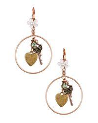 Betsey Johnson | Metallic Key Charm Hoop Drop Earrings | Lyst