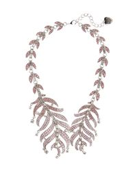 Betsey Johnson | Pink Ballerina Rose Feather Collar Necklace | Lyst