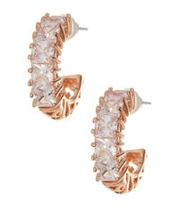 Betsey Johnson - White Crystal Cz Hoop Earrings - Lyst