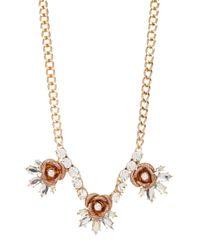 Betsey Johnson | Metallic Glitter Rose Frontal Necklace | Lyst