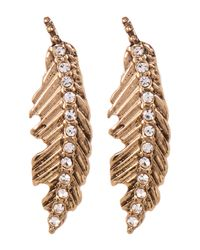 Betsey Johnson - Multicolor Rhinestone Feather Drop Earrings - Lyst